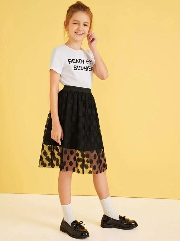 Girls Letter Print Top & Polka-Dot Mesh Skirt Set