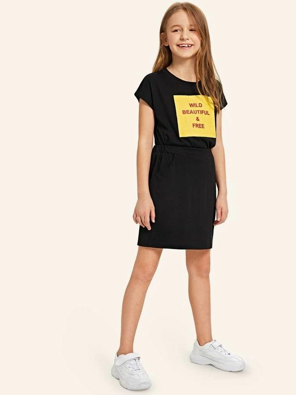 Girls Letter Print Top & Slant Pocket Skirt Set