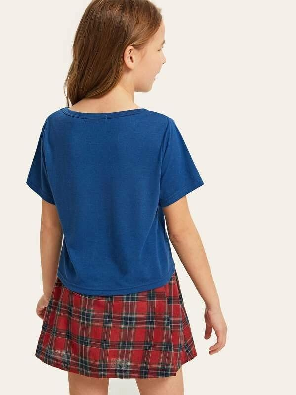 Girls Letter Print Top & Tartan Skirt Set