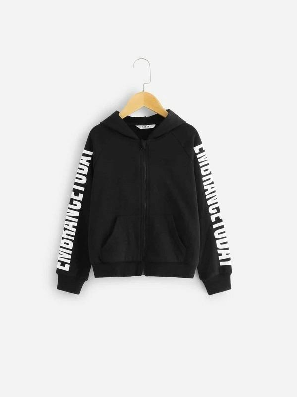 Girls Letter Print Zip Up Hoodie
