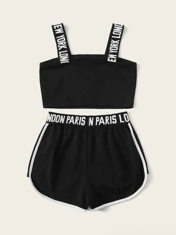 Girls Letter Strap Crop Top And Dolphin Shorts Set