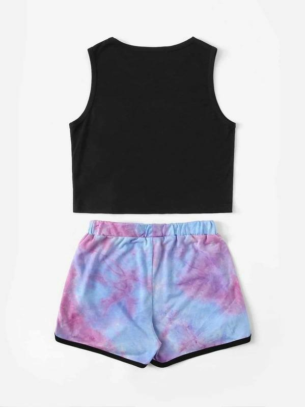 Girls Letter Tank Top And Tie Dye Shorts Set