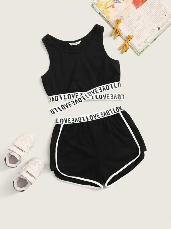 Girls Letter Tape Crisscross Hem Top & Dolphin Shorts Set