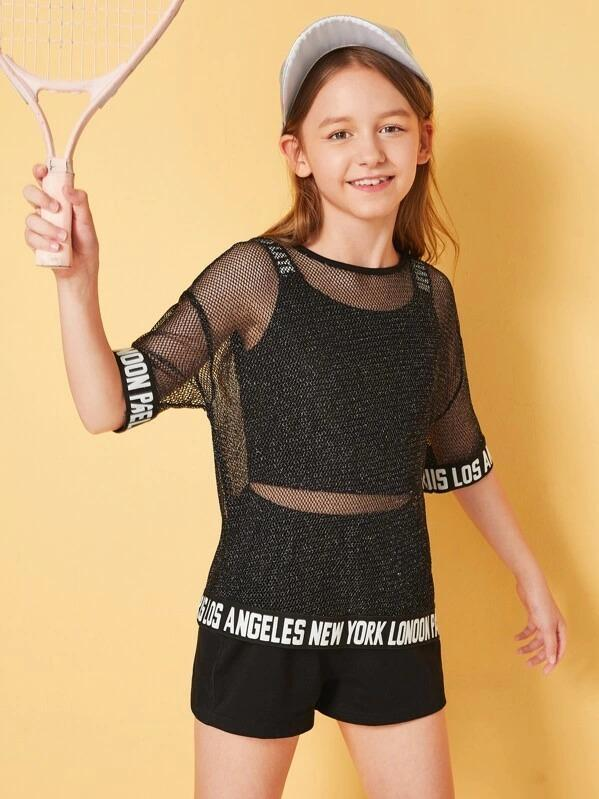 Girls Letter Tape Fishnet Mesh Top With Tank