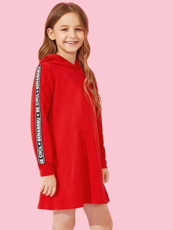 Girls Letter Tape Side Hoodie Dress