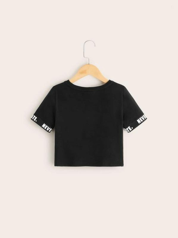 Girls Letter Tape Sleeve Tee