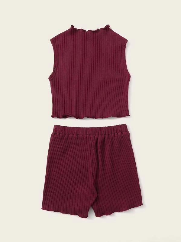 Girls Lettuce Trim Ribbed Top & Shorts Set