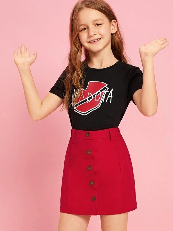Girls Lip & Letter Graphic Tee And Button Up Skirt Set