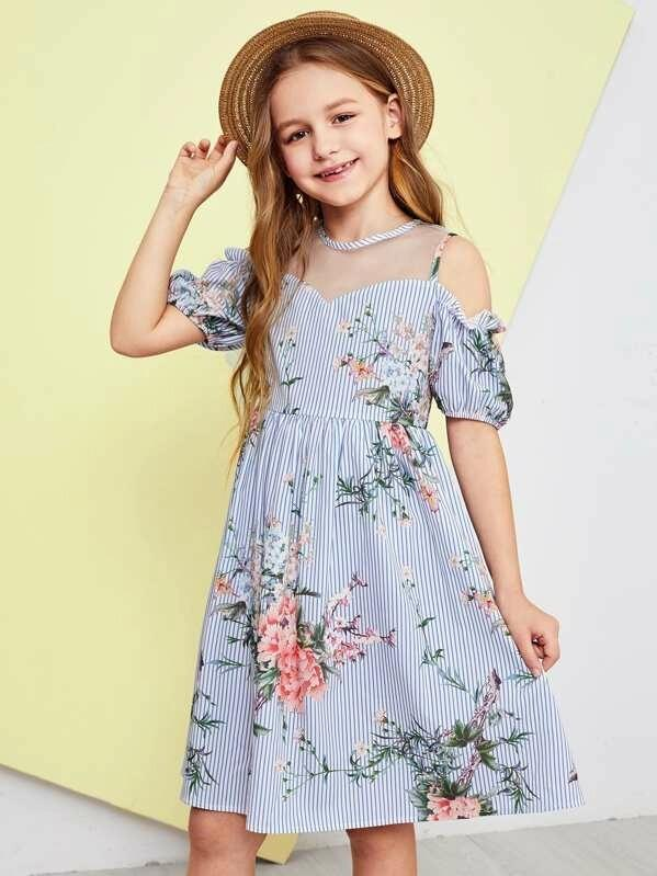 Girls Mesh Insert Cold Shoulder Floral Striped Dress