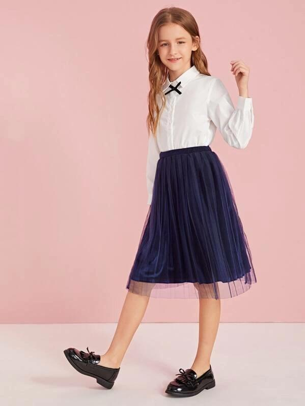 Girls Mesh Overlay Velvet Skirt