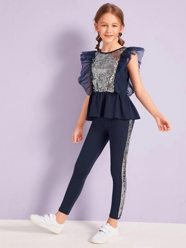 Girls Mesh Ruffle Armhole Sequin Panel Top & Leggings Set