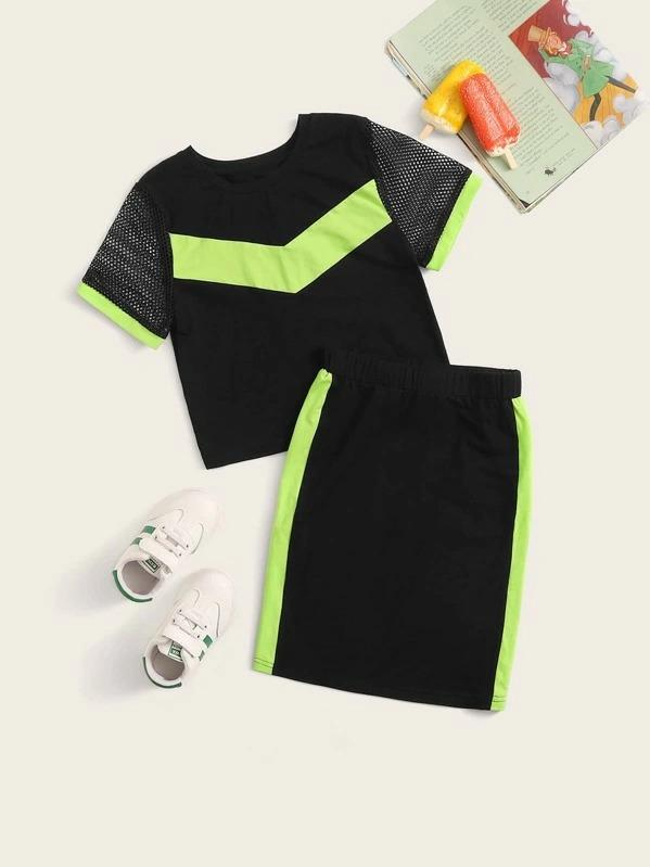 Girls Mesh Sleeve Top And Neon Green Tape Skirt Set