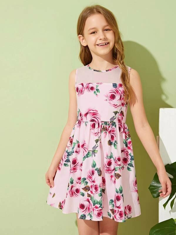 Girls Mesh Yoke Floral Dress