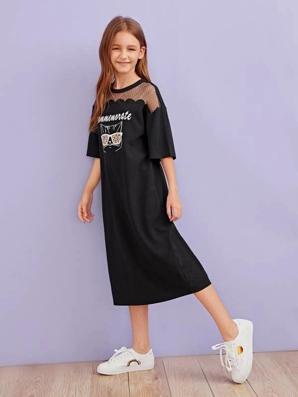 Girls Mesh Yoke Scallop Trim Graphic Print Dress