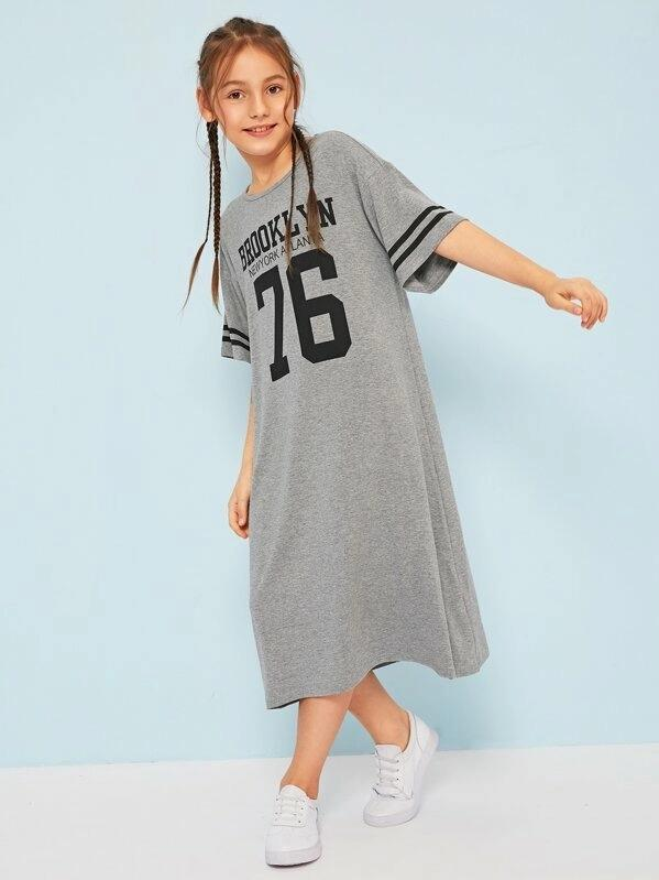 Girls Mixed Print Dress