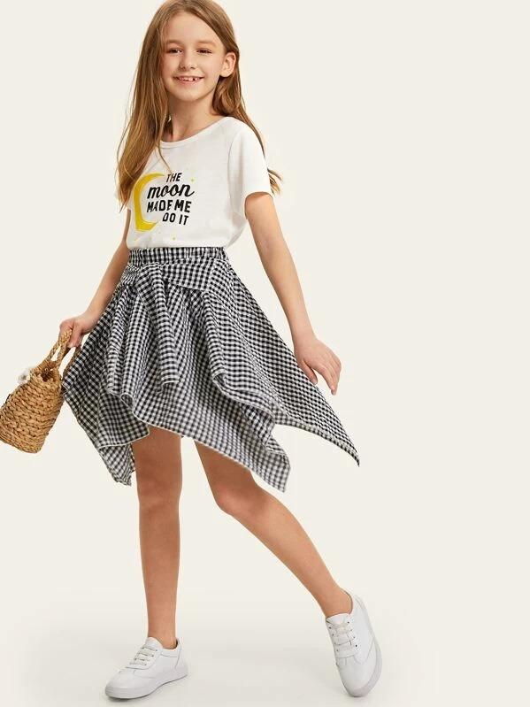 Girls Mixed Print Top & Knot Front Gingham Hanky Skirt
