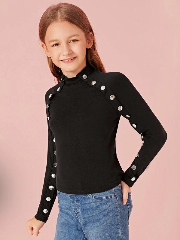 Girls Mock-Neck Buttoned Trim Raglan Sleeve Top