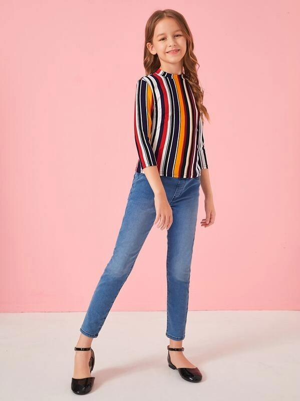 Girls Mock-Neck Colorful Striped Top