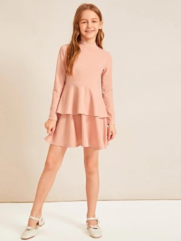 Girls Mock-Neck Double Layer Solid Dress