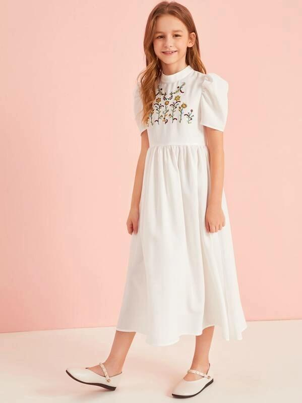 Girls Mock-Neck Embroidery Front Puff Sleeve Dress