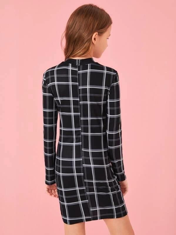 Girls Mock-Neck Plaid Bodycon Dress