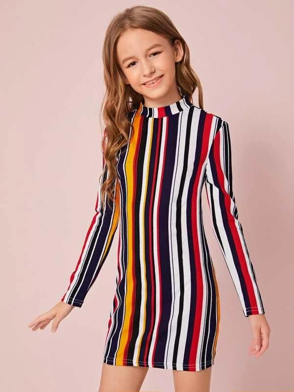 Girls Mock Neck Colorful Striped Dress