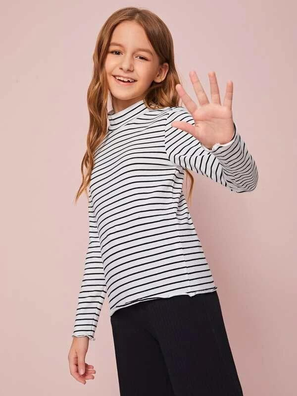 Girls Mock Neck Striped Tee