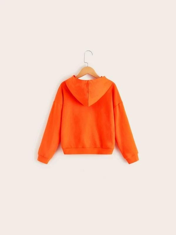 Girls Neon Orange Crisscross Hem Hoodie Top