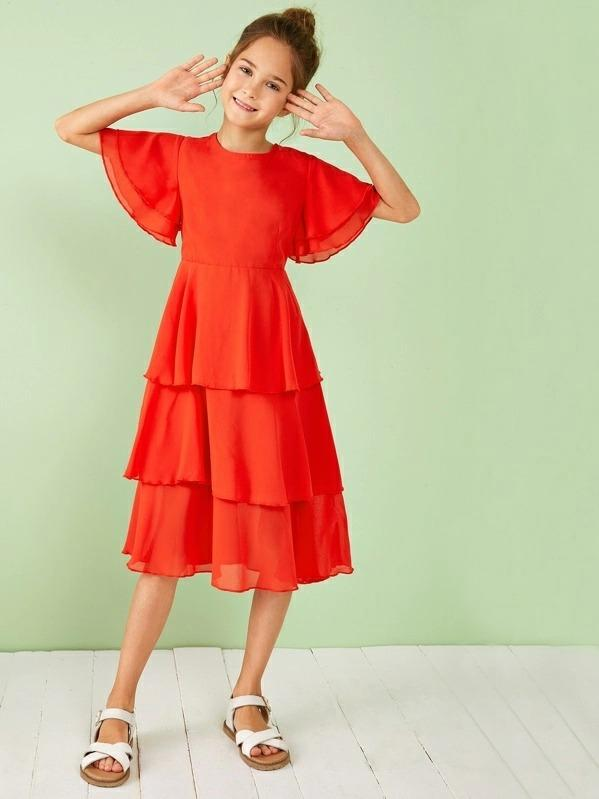 Girls Neon Orange Zipper Back Layered Ruffle Hem Dress
