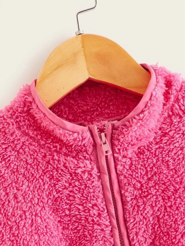 Girls Neon Pink Zip Half Placket Teddy Sweatshirt