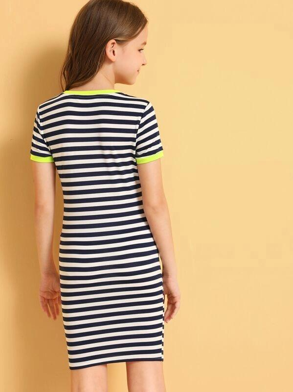 Girls Neon Trim Pocket Patched Striped Dress
