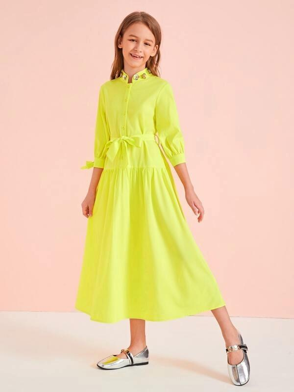 Girls Neon Yellow Applique Detail Belted Shirt Dress