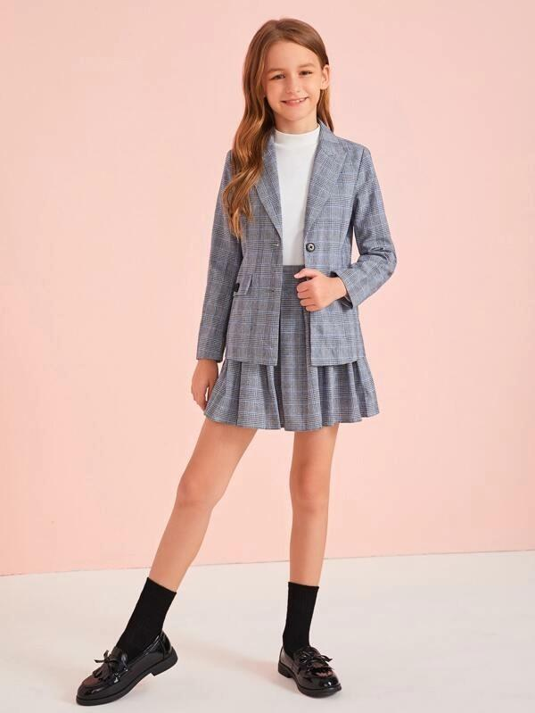 Girls Notch Collar Flap Detail Plaid Blazer & Skater Skirt Set