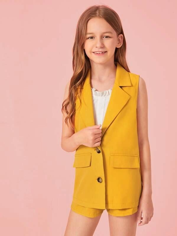 Girls Notched Collar Button Front Vest Blazer & Belted Shorts Set