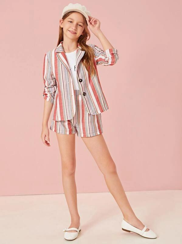 Girls Notched Collar Roll-Up Sleeve Striped Blazer & Shorts Set