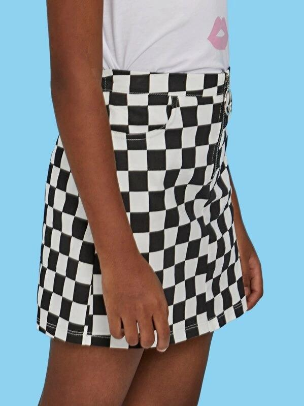 Girls O-Ring Zip Gingham Print A-Line Skirt