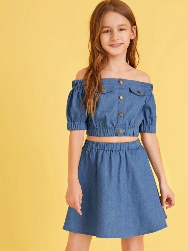 Girls Off Shoulder Button Detail Top & Skirt Set