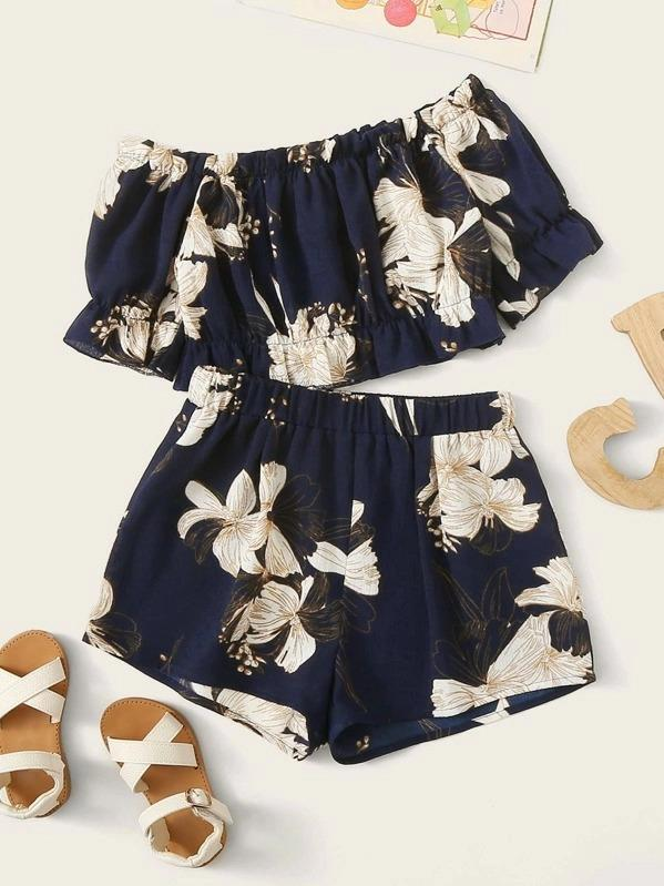 Girls Off Shoulder Crop Botanical Top & Shorts Set