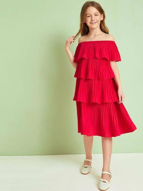 Girls Off Shoulder Layered Pleated Ruffle Dress