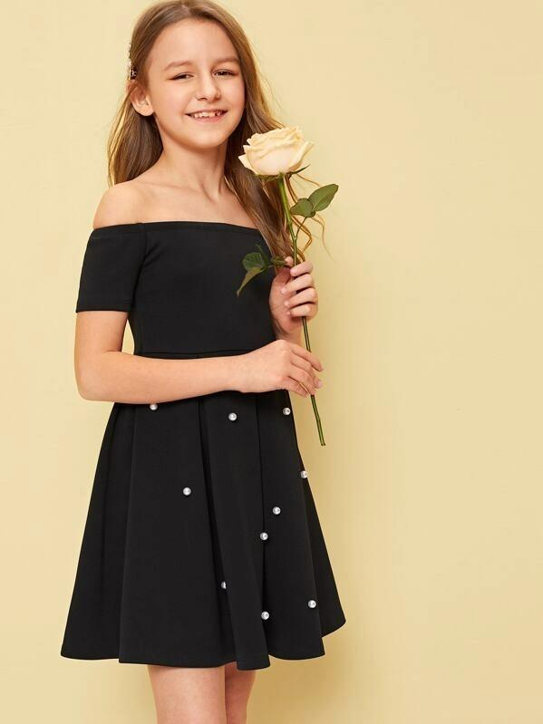Girls Off Shoulder Pearl Beading Boxy Pleated Dress