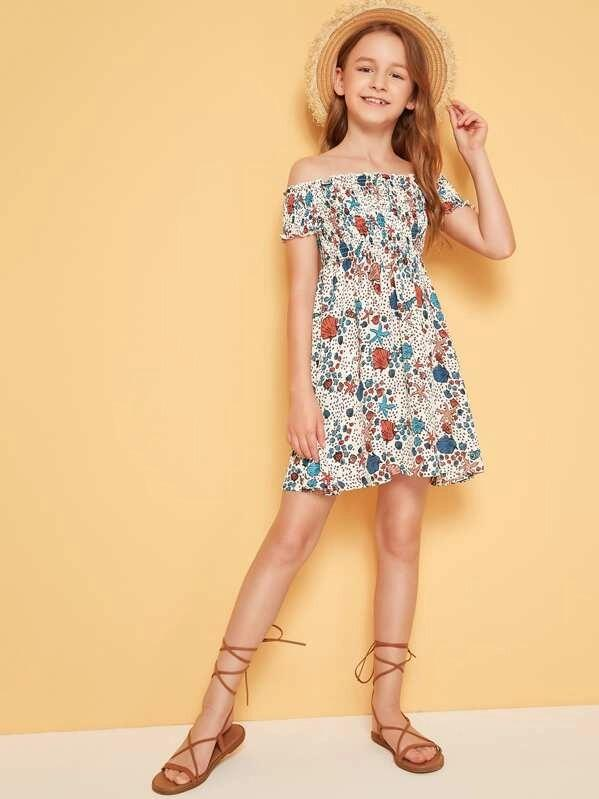 Girls Off Shoulder Starfish & Shell Print Shirred Dress