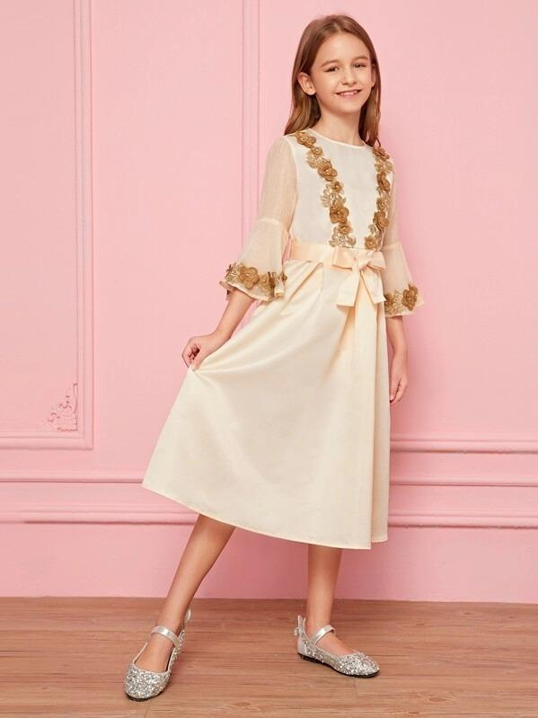 Girls Organza Sleeve Applique Detail Belted Satin Dress