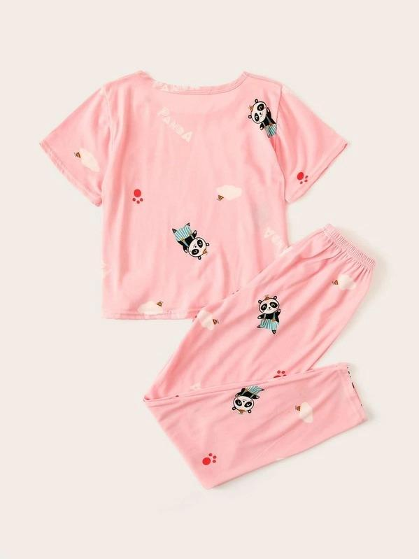 Girls Panda & Letter Graphic Pajama Set