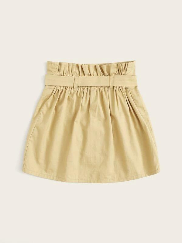 Girls Paperbag Waist Double Breasted Skirt