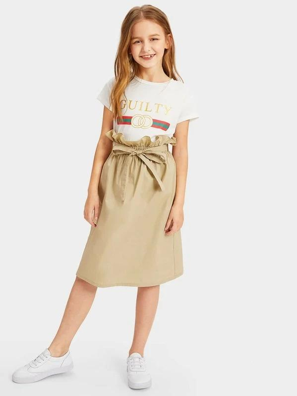 Girls Paperbag Waist Skirt With Belt