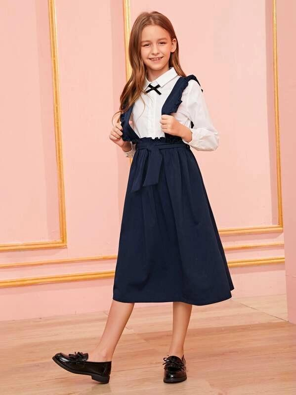 Girls Paperbag Waist Skirt With Ruffle Strap