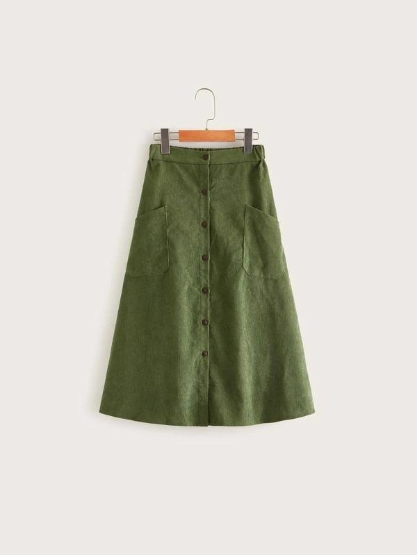 Girls Patch Pocket Detail Button Up Cord Skirt