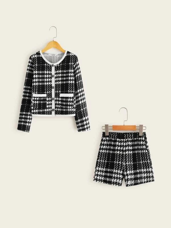 Girls Patch Pocket Plaid Jacket & Shorts Set