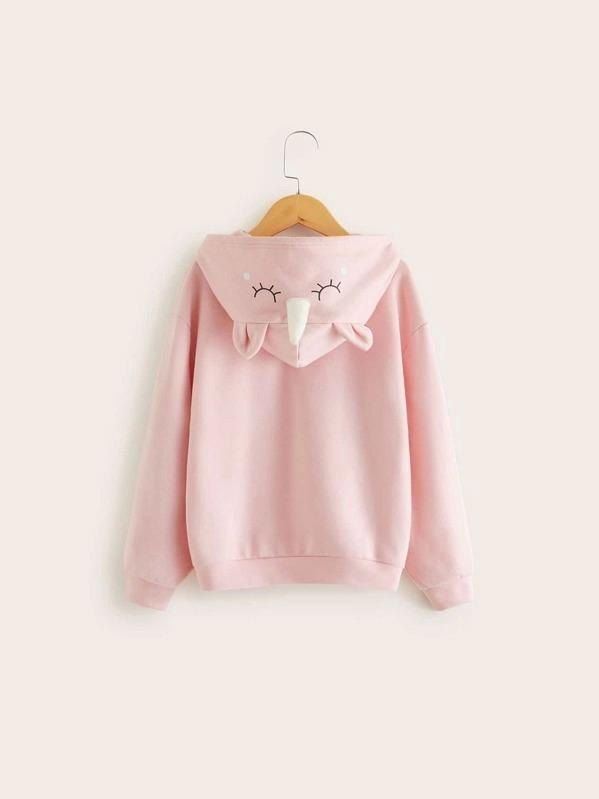 Girls Patch Pocket Slogan Print Ears Hoodie