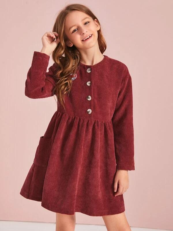 Girls Patched Detail Button Front Flare Corduroy Dress